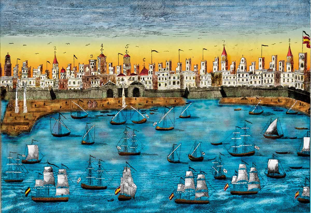 Cádiz en un grabado del siglo XVIII que muestra las torres desde donde los comerciantes vigilaban la actividad comercial en el puerto.