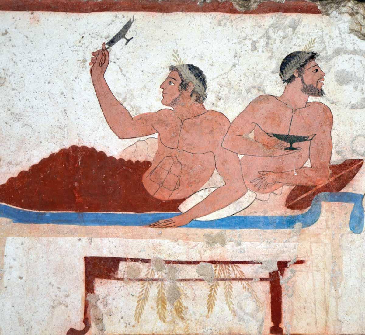 Dos asistentes a un banquete en una escena de la tumba del Nadador, en Posidonia, h. 470 a.C.