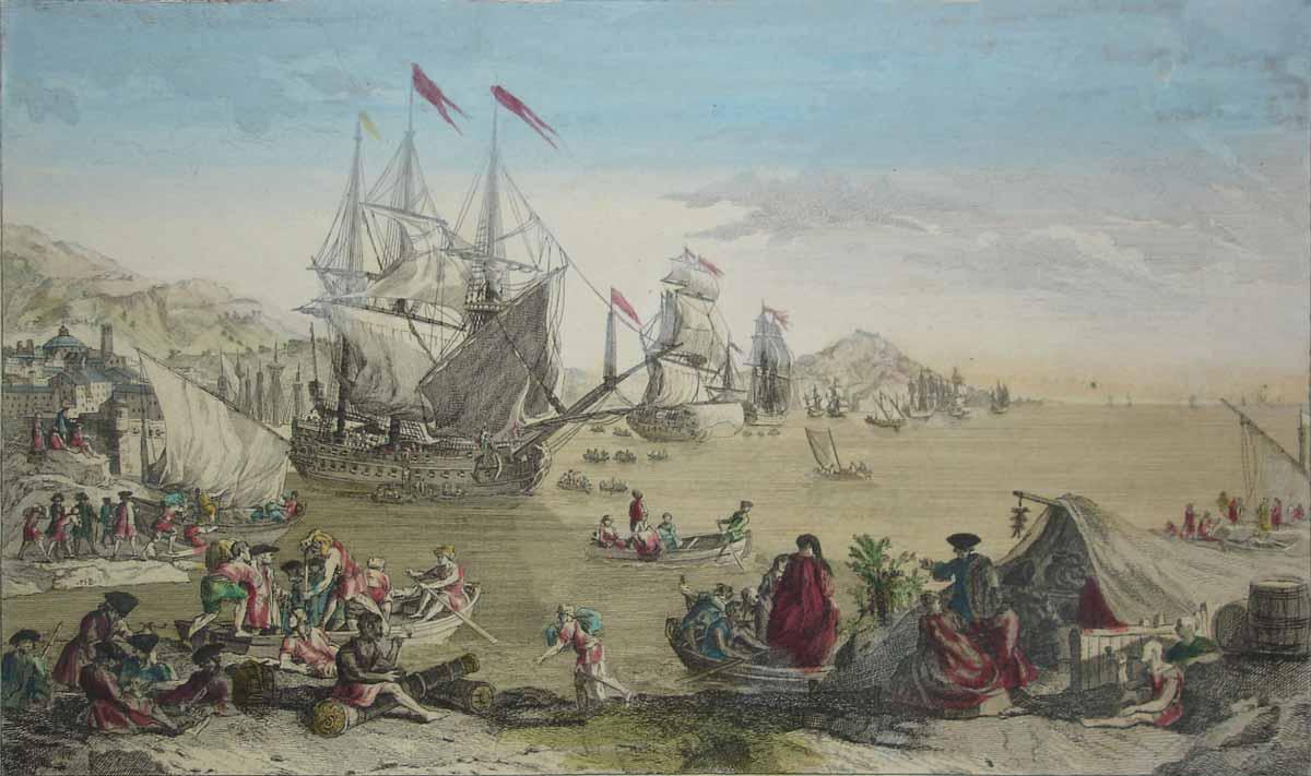 Esta salida de la Flota de Indias desde Cádiz para Veracruz, obra de un grabador francés del último tercio del siglo XVIII, no está basada en la observación de la ciudad real, pero refleja la importancia comercial del puerto gaditano en el comercio atlántico y su eco internacional en la época.