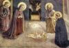 """""""Adoración del niño"""", fresco de Fra Angelico realizado entre 1439 y 1443, Florencia, Museo de San Marcos."""