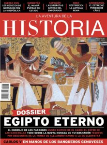 """Portada del número 257 de la revista de historia """"La Aventura de la Historia"""", dedicada al Antiguo Egipto."""