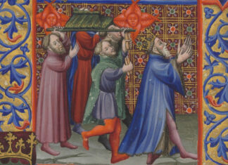 "El rey Martín el Humano, en una miniatura del ""Breviarium secundum ordinem Cisterciencium"", o ""Breviario de Martín el Humano"", 1380-1450."