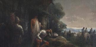 """""""La Noche Triste de Hernán Cortés"""", por Manuel Ramírez Ibáñez, 1890, óleo sobre lienzo 180 x 130 cm., fotografía de Santi Rodriguez, imagen propiedad de Museo de Bellas Artes de Badajoz (MUBA) (Extremadura, España)."""