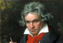 "Retrato de Beethoven con la partitura de la ""Missa Solemnis"" (detalle), por Joseph Karl Stieler, 1820."