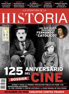 """Portada del número 266 de la revista de historia """"La Aventura de la Historia"""", con un Dossier sobre el nacimiento del cine, entre otros muchos temas."""