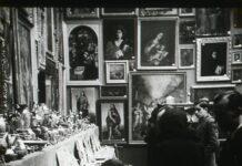 """Exposición de """"arte recuperado"""", organizada en el Palacio de Exposiciones del Retiro de Madrid por el Sdpan franquista al principio de los años cuarenta. (Arch. Regional de la Comunidad de Madrid)."""
