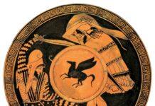 Hoplita griego luchando contra un guerrero persa en un kílix conocido como copa de Edimburgo, siglo V a.C.