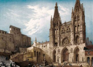 """La catedral de Burgos, en un grabado de Villaamil para """"España artística y monumental"""", siglo XIX, coloreado por Jesús Mena. Portada del número 270 de la revista """"La Aventura de la Historia""""."""