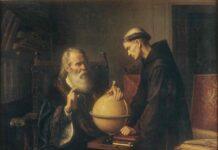 """""""Galileo en la Universidad de Padua demostrando las nuevas teorías astronómicas"""", por Félix Parra, 1873."""