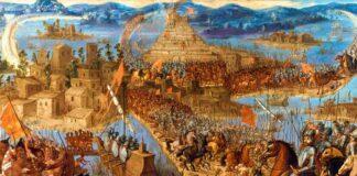 """""""La conquista de Tenochtitlan"""", anónimo, segunda mitad del siglo XVII."""