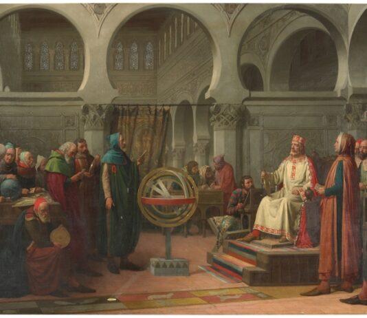 """""""Don Alfonso El Sabio y los libros del saber de astronomía"""", por Dióscoro Teófilo Puebla Tolín, 1881, Madrid, Museo del Prado."""